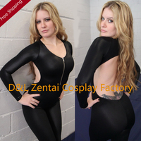 Free Shipping Sexy Front Zipper Catsuit Jumpsuit Second Skin Tight Zentai Backless Long Sleeve Unitard Black Leotard Bodysuits