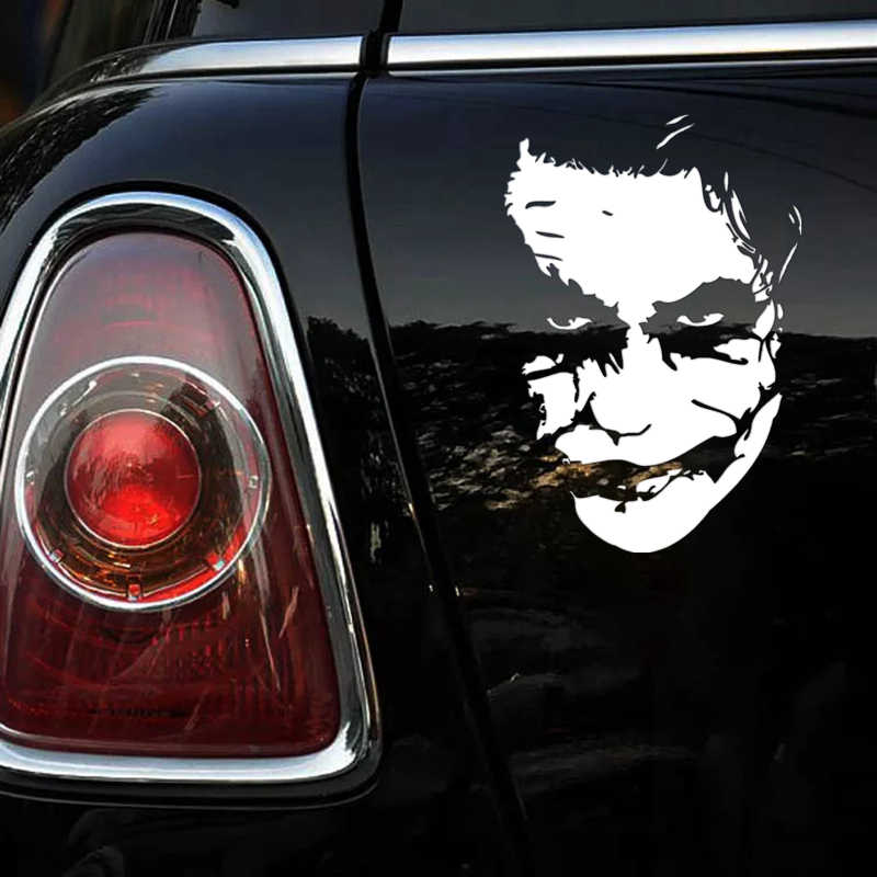 Ck2046 15 22cm Joker Face Funny Car Sticker Vinyl Decal Silver Car Auto Stickers For Car Bumper Window Car Decorations