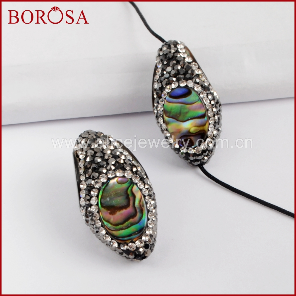 BOROSA 10PCS Fashion Oval Abalone Shell Beads Crystal Paved Black Zircons Fashion Bead for DIY Earrings