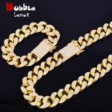 """Alliage cristal lourd Miami chaîne cubaine avec Bracelet et collier ensemble couleur or 20mm grand tour de cou hommes Hip hop bijoux 16 """"18"""""""
