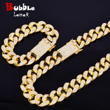 "Alloy Crystal Heavy Miami Cuban Chain with Bracelet & Necklace Set Gold Color 20mm Big Choker Mens Hip hop Jewelry 16"" 18"""