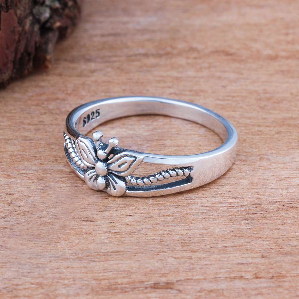 Solid 925 Sterling Silver Female Rings With 7mm Butterfly Shape ...
