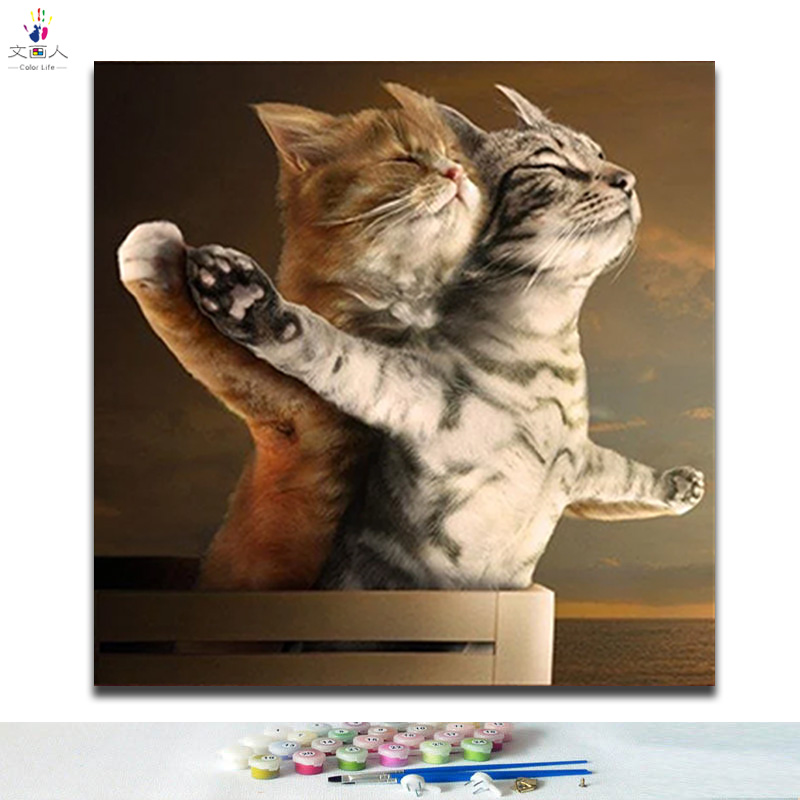 Diy Coloring By Numbers Cute Cat Digital Painting By Numbers Cartoon Animal Titanic Cat Romantic Love Picture Paint By Numbers