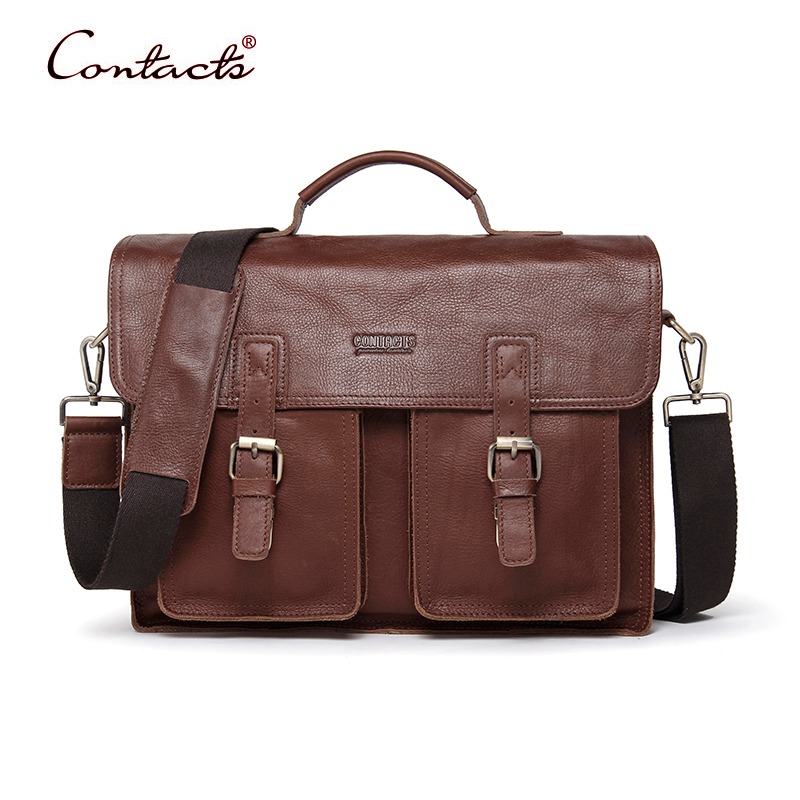CONTACT'S Men Bags Shoulder Messenger Bag Crossbody Tote Male Handbags Vintage Retro Briefcase Genuine Leather Brand 2017 New mva genuine leather men bag business briefcase messenger handbags men crossbody bags men s travel laptop bag shoulder tote bags