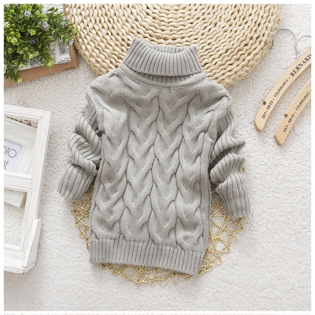 2T-8T pure color winter boy girl kid thick Knitted bottoming turtleneck shirts solid high collar pullover sweater