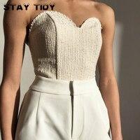 STAY TIDY Stealth спагетти ремень сексуальный топ топы женские модные без бретелек Slash шеи спинки Бюстье Топы уличная мода, вечеринки