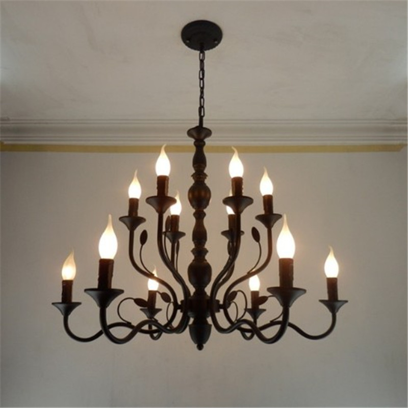 Retro Chandelier Lighting Black Wrought Iron Chandeliers ...