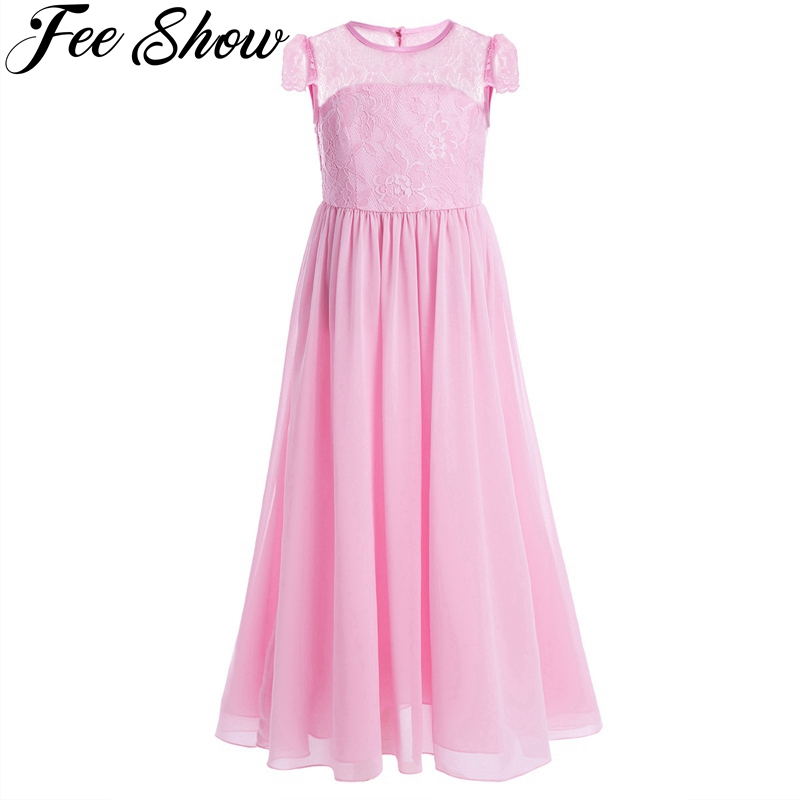 Girls Chiffon Lace Flower Princess Dress Cap Sleeves Birthday Party Teen 14Year Girls Dress Pageant Wedding Bridesmaid kid wear girls lace mesh half sleeves dress for princess pageant wedding bridesmaid birthday formal party