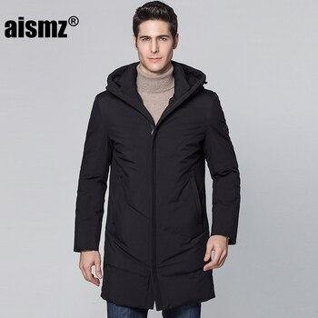 Aismz Winter Warm Hooded Men Down Jackets Casual X-Long Duck Down waterproo Coats & Jackets Thicken Outwear Casual Solid Parkas