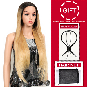 Image 3 - קסם שיער ארוך סינטטי חזית תחרת פאות עבור נשים שחורות 28 אינץ צהוב ישר פאה עבור נשים סיבי טמפרטורה גבוהה שיער