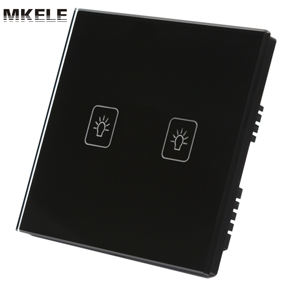 New Arrivals UK Standard Touch Switch For Lamp 2 Gang 1 Way Black Light Interruptor Glass Panel Wall From China new arrivals remote touch wall switch uk standard 1 gang 1way rf control light crystal glass panel china