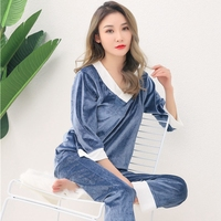 Plus Size 5XL Thick Warm Gold Velvet V neck Pajama Sets for Women 2018 Winter Long Sleeve Sleepwear Pyjama Homewear Pijama Mujer