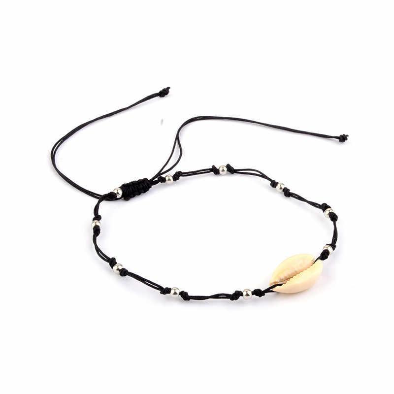 OTOKY łańcuszek na kostkę 2019New Shell koraliki plaża tkane łańcuszek na kostkę Foot biżuteria proste czarna lina wyciągnąć urok muszle kostki bransoletki 19May27