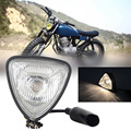1pcs Black Triangle Motorcycle Headlight Lamp Blub Universal H4 Motor headlight for Most of Motorcycles