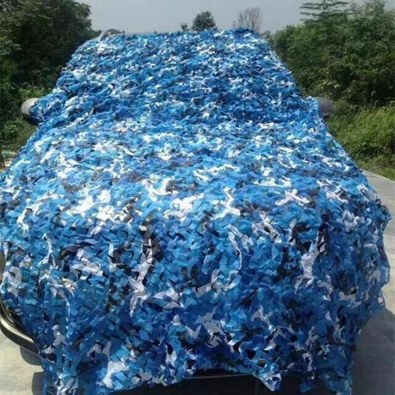 3x3 4x4 Sea Blue Camouflage Nets Military Reinforced for Outdoor Awning Garden Decoration Shade Concealment Mesh Canopy Ocean