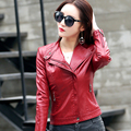 2017 leather ladies short section Slim jacket Korean motorcycle jacket women's Coat