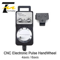 WaveTopSign HandWheel Pulse Generator CNC Electronic HandWheel 4axis 6axis MPG 60mm DC5V 6pin 100PPR use for CNC Router Machine