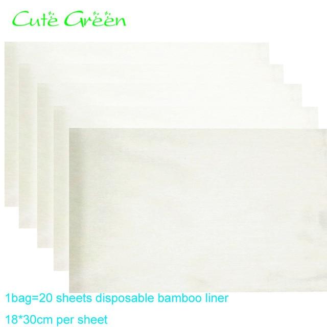 20 feuilles Organique insert En Bambou, Bambou Doublure Jetable Pour on