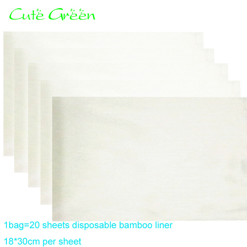 20 sheets Organic Bamboo insert,Bamboo Flushable Liner For Baby Cloth Diaper;Biodegradable Disposable Liner baby nappies soaker