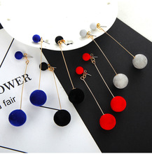 Korea autumn and winter models geometric beads multicolor earrings hair ball stud women drop shipping