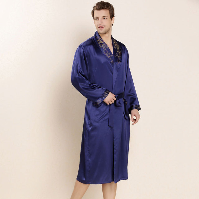 2017 Luxury 100% Real Silk Mens Bathrobe Summer Loungewear Solid Pajamas Long Nightgown Embroidery Design with Belt LX80044M