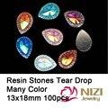 13x18mm 100 unids/lote Cabochons de la Resina de Flatback de la Resina Piedras Tear drop Bolas de Piedra Para La Decoración de La Joyería de 7 Colores para Elegir