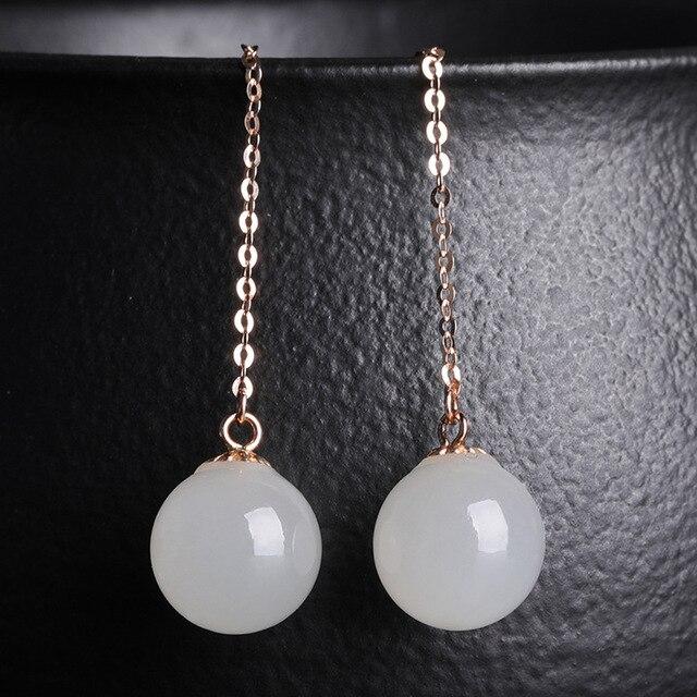 2020 Earings Fashion Jewelry National Wind Jade Beads Earrings 8 Mm Long Female With Certificate Of 18 K Rose Hetian Ear Wire  2