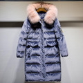 2017 Winter Women Down Jackets and Coats Faux Fur Collar Hooded High Quality Warm Long Down Jacket Blue Velvet Parka Coat Female