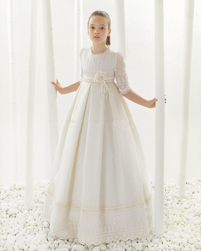 2017 Lace Sheer Flower Girl Dress Birthday Party First communion Dresses Gown
