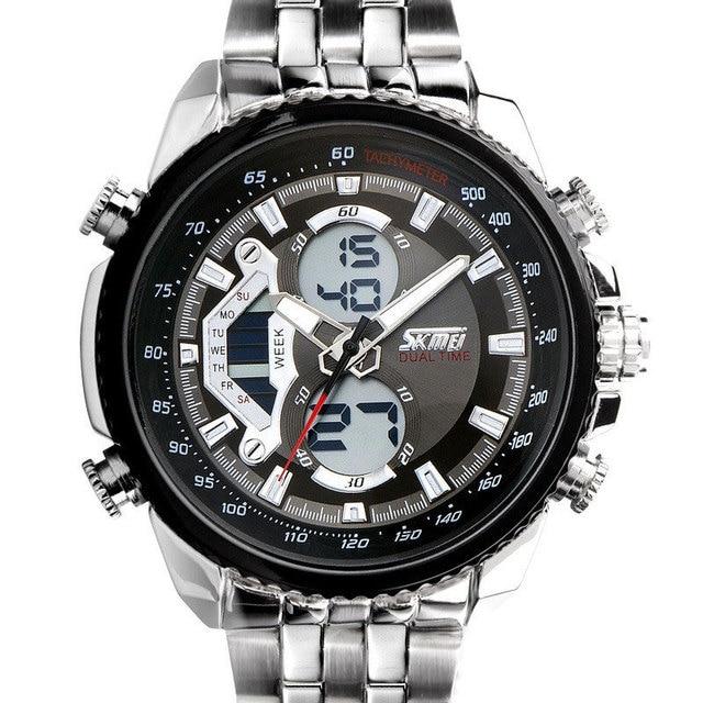 Men Watches Luxury Brand Full Steel Quartz Clock Digital LED Watch Sport Watch relogio masculino W0819