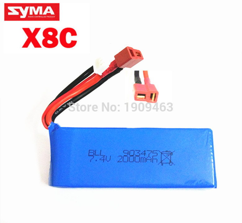 Syma 7.4V 2000 mah Lipoly battery Spare part for X8C / X8C-1 RC Quadcopter RC Drone helicopter free shipping vho power syma x8w rc drone lipo battery 5pcs 2s 7 4v 2500mah and eu charger for syma x8c x8w x8g x8hg rc helicopter spare parts