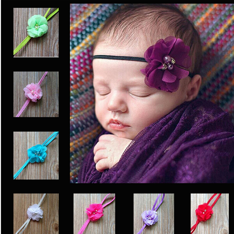 Hair Accessories Retail Kids Hair bands Multi Angle Ribbon With Pearl Center Flower Headband w--054 metting joura vintage bohemian ethnic tribal flower print stone handmade elastic headband hair band design hair accessories