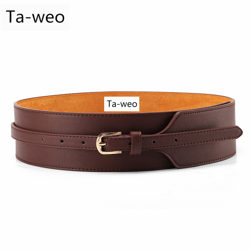 Women Dress   Belt  , Fashion Coat Leather   Belt   For Women, Pin Buckle Cowhide Leather Women   Belts  , Mid-waisted Wide   Belt