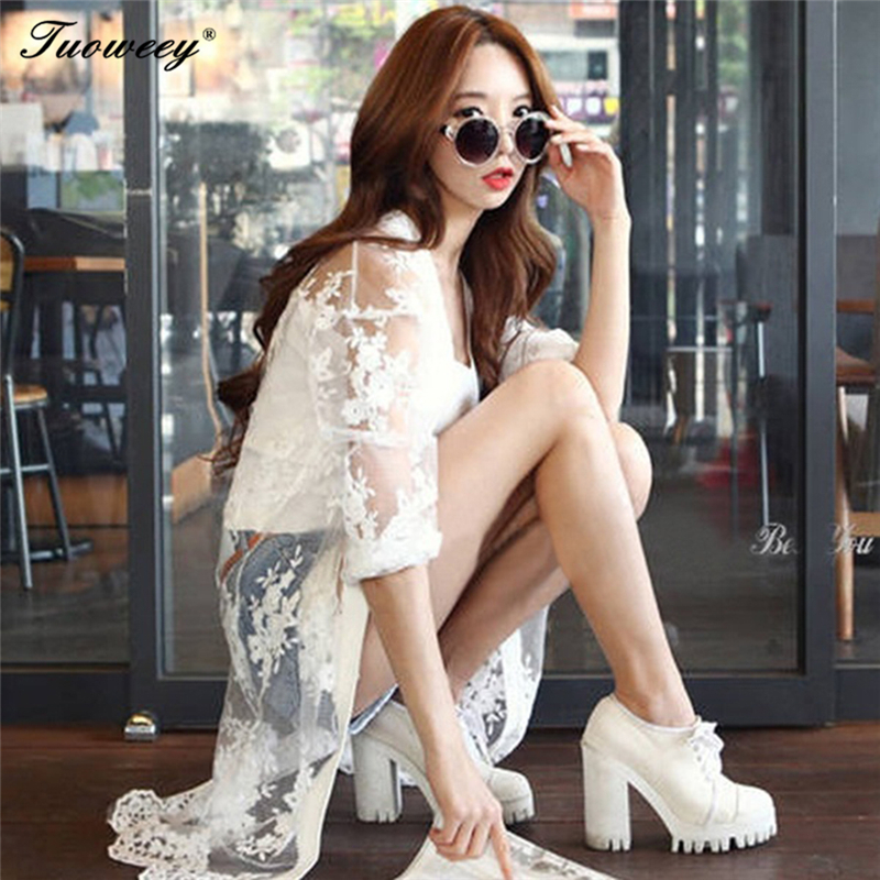 Boho Blusa Cardigan Tamaño Playa Encaje Sexy Blanco Impresa Más 2018 Camisa Gasa Verano Kimono Casual Mujeres Tops White Floja Beachwear wWqS1cBcXP