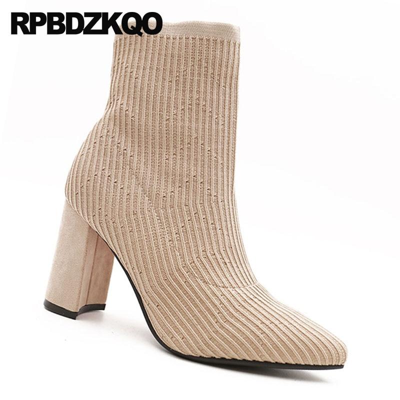 Marke schwarzes Slip Qualität Beige Frauen Luxus Block Socke Beige Schuhe Schwarz Chunky Stretch Spitz Heel Ankle Stiefel High Auf 2018 Kurze Herbst q616ZAt