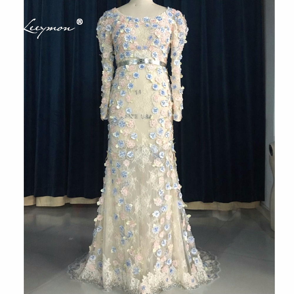 Leeymon Long Sleeves Lace   Evening     Dress   2019 Hot Selling Sheer Flowers Sequins   Evening   Prom   Dress   Robe De Soiree Courte E32