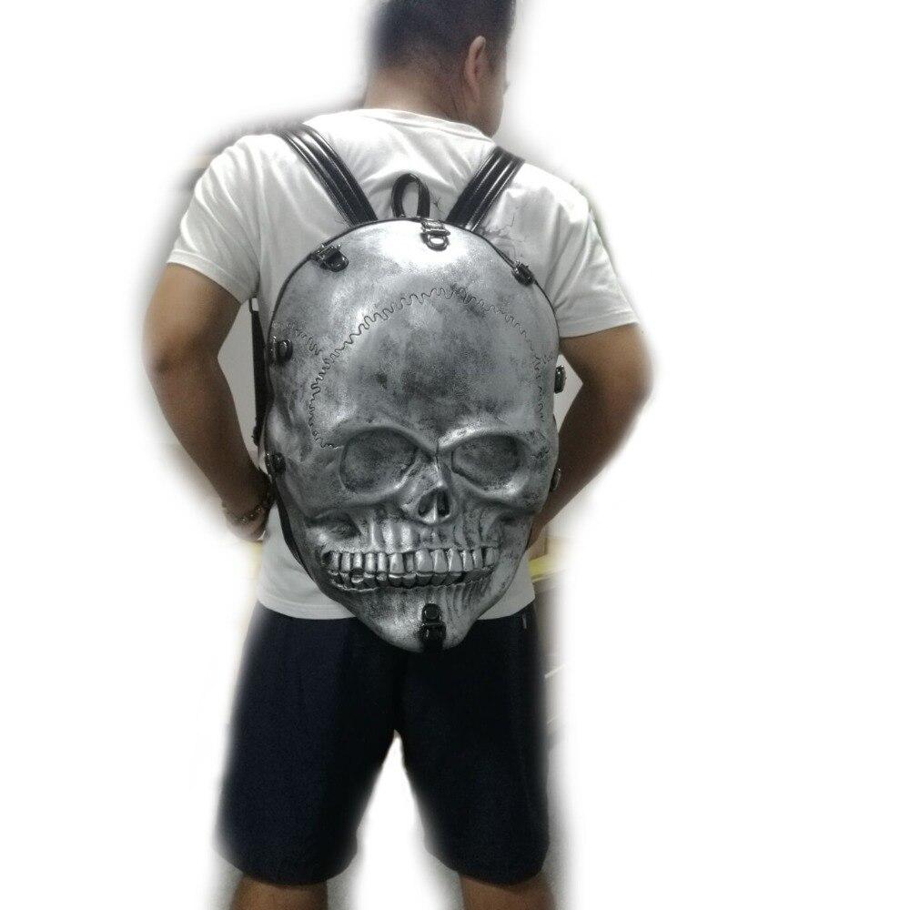 все цены на Big 3D Skull Backpack Men Waterpoof School Backpacks for Teenagers Fashion Rivets Large Capacity Laptop Travel Backpack онлайн