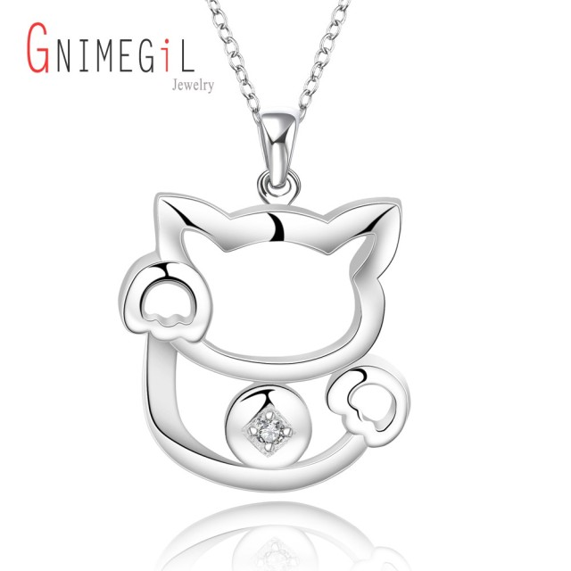 Aliexpress buy gnimegil brand jewelry hot sale anime gnimegil brand jewelry hot sale anime jewelries for women silver cat pendant necklace nice crystal zircon mozeypictures Image collections