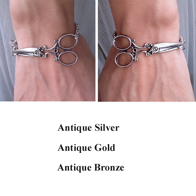 Hairstylist Jewelry Antique Silver Scissor Bracelet Bangle,Victorian Bracelets Chain wish bracelet,Pulseiras Masculina Femininas
