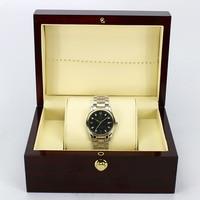 Dark Wine Red Wooden Watch Display Box Automatic Switch And Lock Watches Case Jewelry Storage Holder