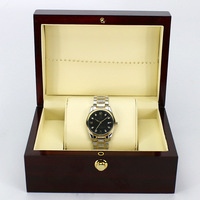 Dark Wine Red Wooden Watch Display Box Automatic Switch And Lock Watches Case Jewelry Storage Holder