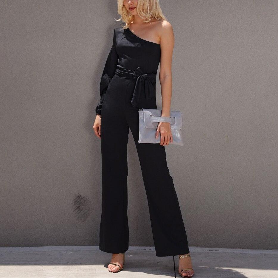 Women Fashion Office Lady Solid Jumpsuit Stylish One Shoulder Slit Sleeve Black Jumpsuit