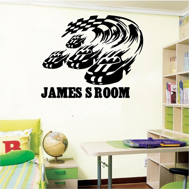 Cool personalized race car and flag vinyl wall decal name custom racing car flag home wall