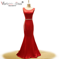 Abendkleider 2017 red sirena vestidos de baile vestido de raso rebordear cristalino largo vestidos de noche backless atractivo de la sirena vestido de fiesta Por Encargo