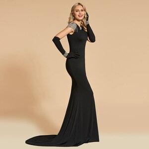 Image 3 - Женское вечернее платье Русалка Dressv, черное платье с глубоким вырезом и коротким рукавом, длиной до пола, с бисером, вечерние свадебные платья