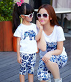 2015 summer style mother and daughter clothes sports suit mom girls clothing set elephant t-shirt+shorts mommy and me clothes