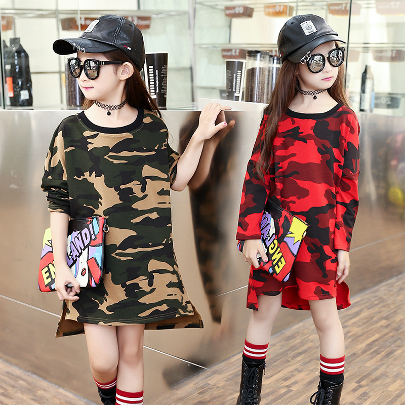 New Kids Dresses For Girls Tees Long Sleeve Cotton T-Shirts Autumn Camouflage Girls Dress Children Clothing 4 6 8 10 12 13 Years