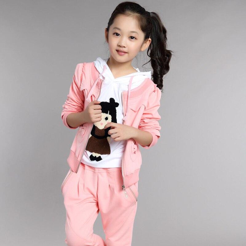 Vêtements pour enfants 2015 femme enfant automne fille vêtements ensemble sport à manches longues trois pièces ensemble vente chaude nouveau Style