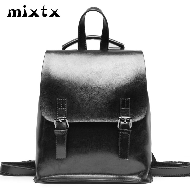 Mixtx 2019 Women Backpack Trend Schoolbag Teenager Student Back Pack High Quality Second Layer Cowhide Retro Totes College Style