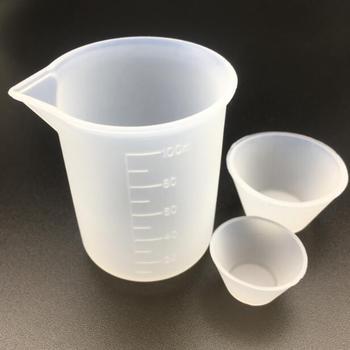 Taza medidora de silicona transparente de 1X100ML, molde de Resina de silicona hecho a mano, herramienta de fabricación de joyería, taza de resina epoxi